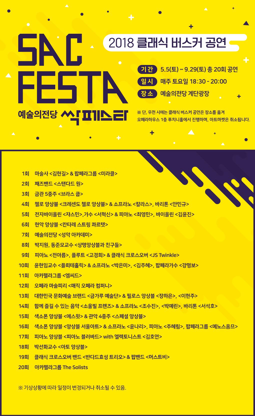 예술의전당 싹페스타(SAC FESTA) 안내 (클래식 버스커 공연), 회차별 출연진